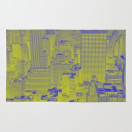 New York Buildings - Green Rug