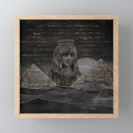 Cleopatra on Egyptian pyramids landscape Framed Mini Art Print