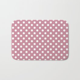 Puce Pink Polka Dot Pattern Bath Mat