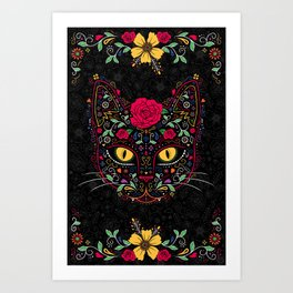 Day of the Dead Kitty Cat Sugar Skull Art Print