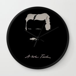 Nikola Tesla Minimalist Illustration Wall Clock