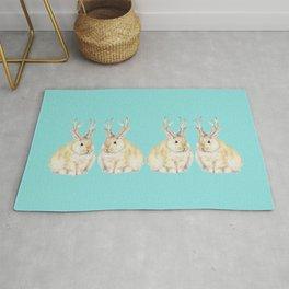 Watercolor Grumpy Jackalope Antler Bunny Rug