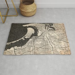 SAN DIEGO map California Ink lines 3 Rug