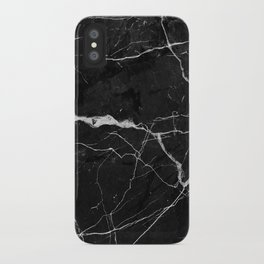 Black Suede Marble With White Lightning Veins iPhone Case