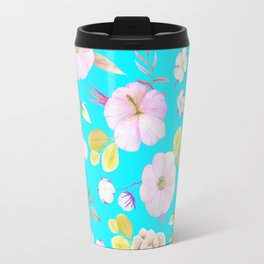 Artist hand painted pink lavender teal watercolor floral Travel Mug