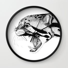Hand drawn Clouded Leopard Wall Clock