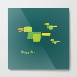 Happy Bird-Green Metal Print