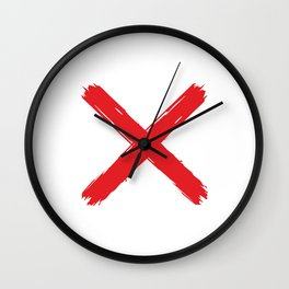 Red X on white background. #society6 #decor #buyart #artprint Wall Clock