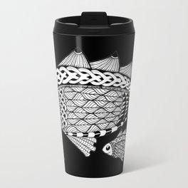 Fishies Zentangle Black and White Pen & Ink Travel Mug