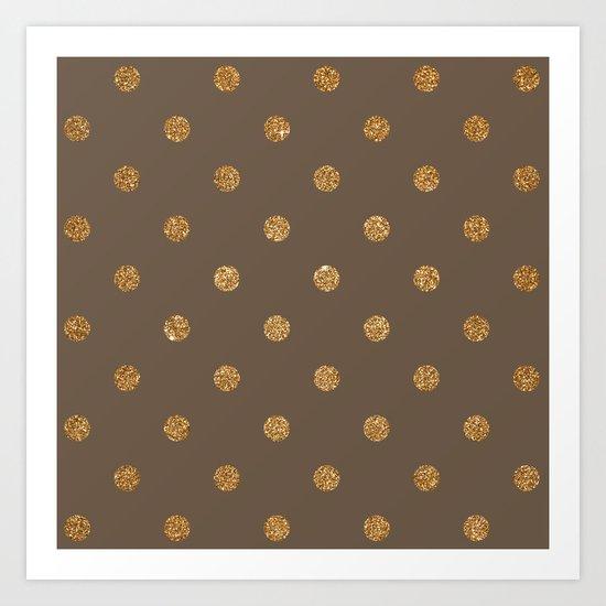 Brown Gold Glitter Dots Art Print