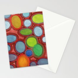 Abstract Moving Round Shapes Pattern Stationery Cards