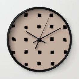 Polka Strokes Gapped - Black on Nude Wall Clock