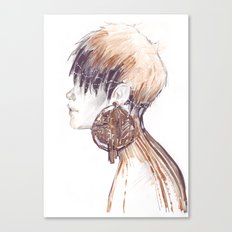 Fashion illustration profile portrait gold black white markers and watercolors Canvas Print