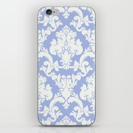 wedgewood blue damask iPhone Skin