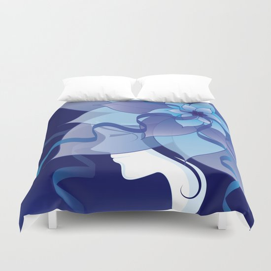 The Lady in Blue Duvet Cover
