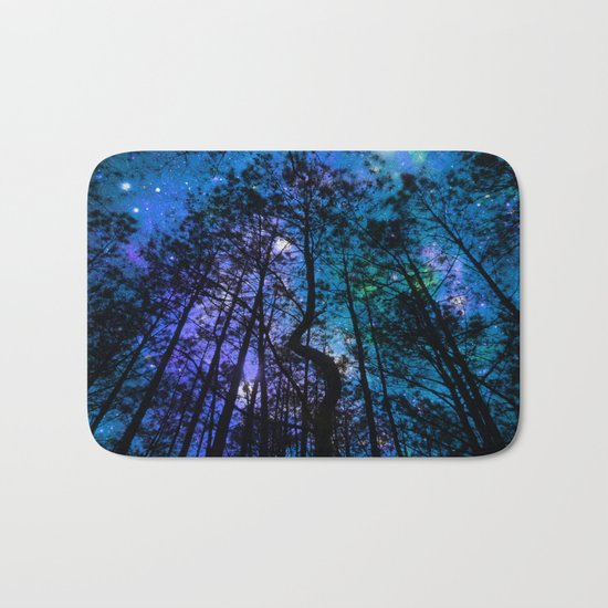 Black Trees Teal Purple Space Bath Mat