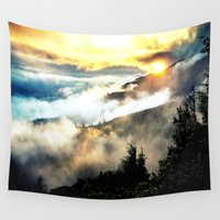 mountains Wall Tapestries featuring Sunrise mountains by 2sweet4words Designs