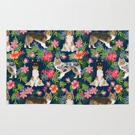 Shetland Sheepdog sheltie tropical florals floral dog breed pattern gifts for dog lover Rug