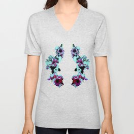 Hana Collection - Graphic Hot Pink and Teal Sakura Cherry Blossoms Unisex V-Neck