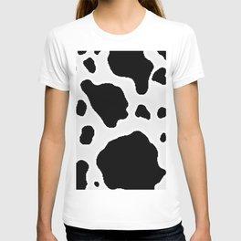 Black and White Cow Animal Pattern Print T-shirt