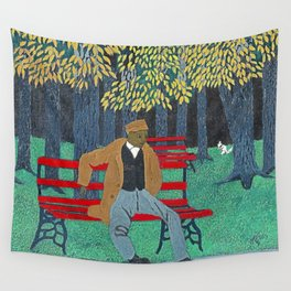 African American Masterpiece 'Man on a Bench' by Horace Pippin Wall Tapestry