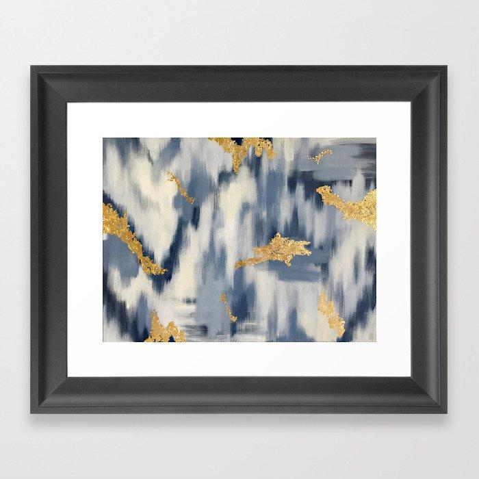 Blue and Gold Ikat Pattern Abstract Gerahmter Kunstdruck