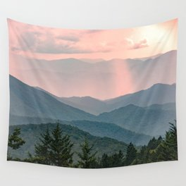 Smoky Mountain Pastel Sunset Wall Tapestry