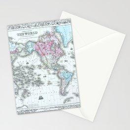Vintage World Map 1855 Stationery Cards