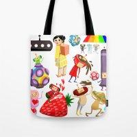 katamari Tote Bags featuring Katamari Characters by Lil' UFO!