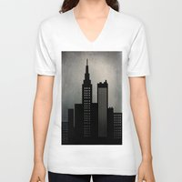 skyline V-neck T-shirts featuring City Skyline  by ALLY COXON