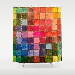 Rainbow Tiles Golden Mosaic Watercolor Palette Shower Curtain