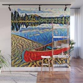 Red Canoe on Lake Tahoe Wall Mural
