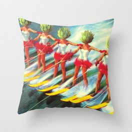 The artichoke skiers Throw Pillow