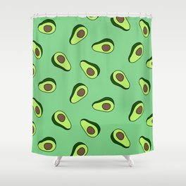 Green Vibrant Colorful Avocado Print Shower Curtain