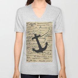 Vintage gray retro nautical anchor marine paper Unisex V-Neck