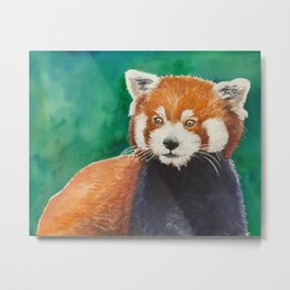 Red panda watercolor portrait Metal Print