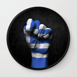 Greek Flag on a Raised Clenched Fist Wall Clock