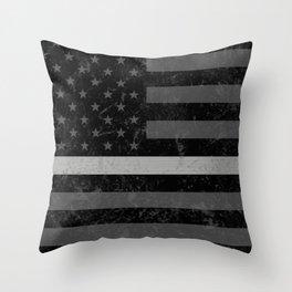 Thin Silver Line Throw Pillow