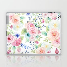Blush pink watercolor elegant roses floral Laptop & iPad Skin
