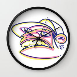 Skateboard Kid with Big Mouth and Crazy Eyes, Wearing Trucker Hat Wall Clock