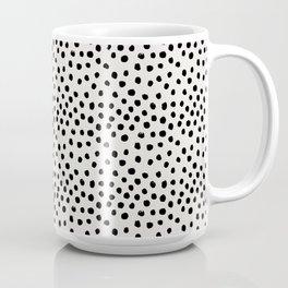 Preppy brushstroke free polka dots black and white spots dots dalmation animal spots design minimal Coffee Mug