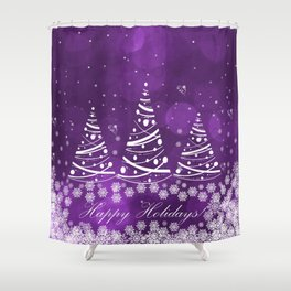 Happy Holidays Purple Magic Shower Curtain