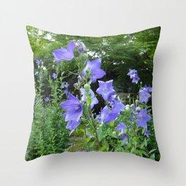 Blue bell flower /Japanese garden Throw Pillow