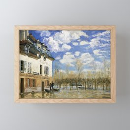 Alfred Sisley - Boat in the Flood at Port Marly - Digital Remastered Edition Framed Mini Art Print
