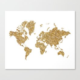 world map white gold Canvas Print