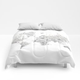 Marble world map in light grey and brown Comforters