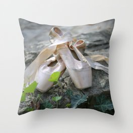 Pink Ballet Pointe Shoes on Limestone Wall with Ivy Vines Throw Pillow