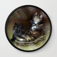 kittens Wall Clocks featuring Kittens by Julie Hoddinott