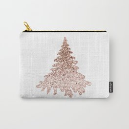 Sparkling christmas tree rose gold ombre Carry-All Pouch