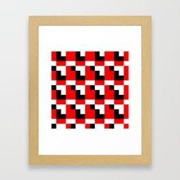 Red black step pattern Framed Art Print